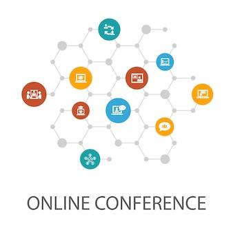 Modèle de présentation de conférence en ligne, mise en page de la couverture et discussion de groupe d'infographies, apprentissage en ligne, webinaire, icônes de conférence téléphonique