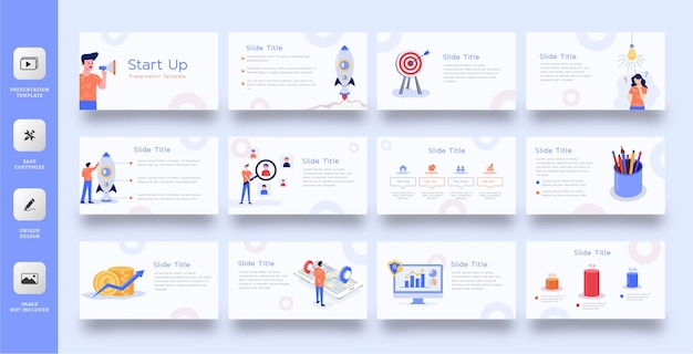 Modèle de présentation de diapositives commerciales avec illustration plate