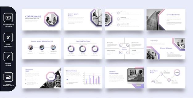 Modèle de présentation de diapositives d'entreprise polyvalent 12 pages