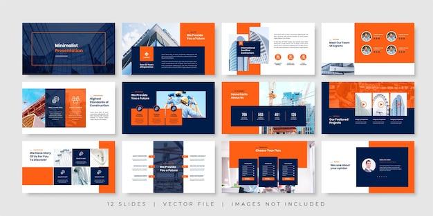 Modèle de présentation de diapositives minimales de construction