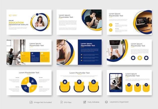 Modèle de présentation de diapositives powerpoint d'éducation ou de cours en ligne