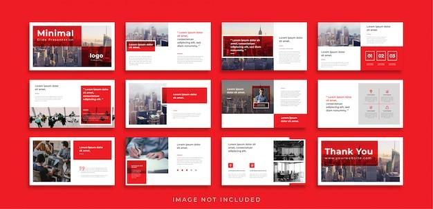 Modèle de présentation de diapositives powerpoint minimal rouge