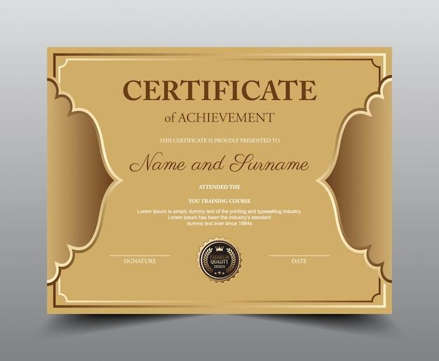 Modèle de présentation du certificat