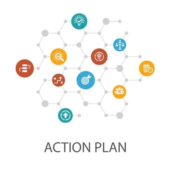 Modèle de présentation du plan d'action, mise en page de la couverture et infographie. amélioration, stratégie, mise en œuvre, icônes d'analyse