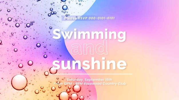 Modèle de présentation d'été vecteur de fond de bulle d'huile, texte de natation et de soleil