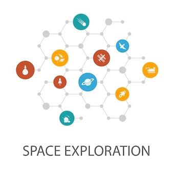 Modèle de présentation d'exploration spatiale, mise en page de la couverture et infographie. fusée, vaisseau spatial, astronaute, icônes de la planète