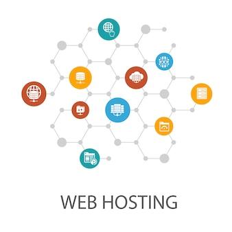 Modèle de présentation d'hébergement web, mise en page de la couverture et infographie nom de domaine, bande passante, base de données, icônes internet