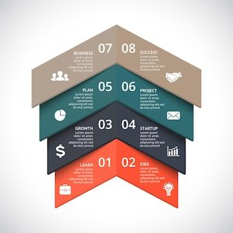 Modèle de présentation d'infographie vectorielle diagramme de cercle diagramme 8 étapes parties