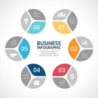 Modèle de présentation d'infographie vectorielle diagramme de cercle graphique 6 étapes parties