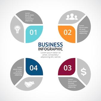 Modèle de présentation d'infographie vectorielle diagramme circulaire 4 étapes parties