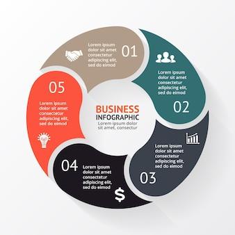Modèle de présentation d'infographie vectorielle diagramme circulaire 5 étapes parties