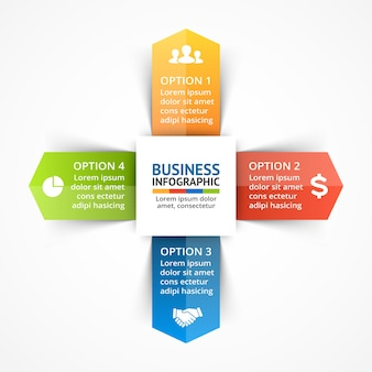 Modèle de présentation d'infographie vectorielle de flèches diagramme de cercle 4 étapes parties