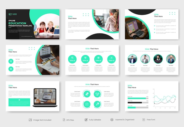 Modèle de présentation powerpoint d'éducation en ligne