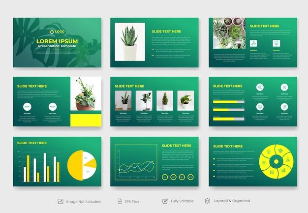 Modèle De Présentation Powerpoint Nature Ou Diapositive De Présentation De Projet De Plante Vecteur Premium
