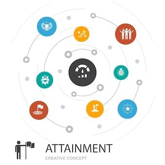 Modèle de présentation des résultats, mise en page de la couverture et infographie. objectif, leadership, objectif, icônes de travail d'équipe
