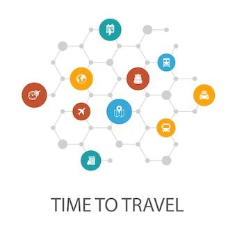 Modèle de présentation time to travel, mise en page de la couverture et infographie. réservation d'hôtel, carte, avion, icônes de train