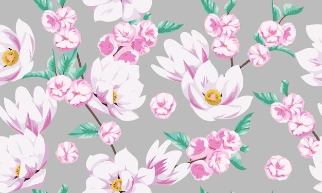 Modèle de printemps sans couture avec des magnolias. conception de tissu pour robe d'été élégante
