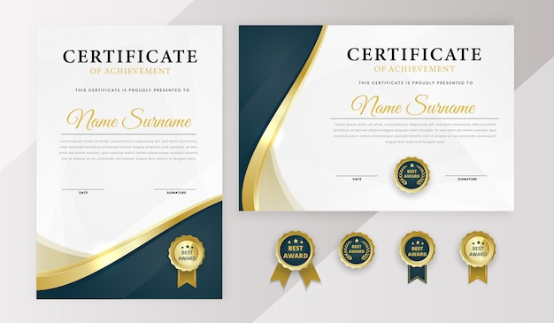 Modèle de prix du meilleur diplôme de certificat moderne avec badge
