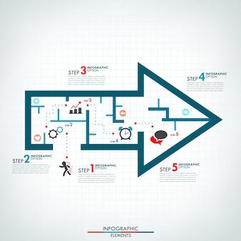 Modèle de processus d'infographie avec flèche de style labyrinthe
