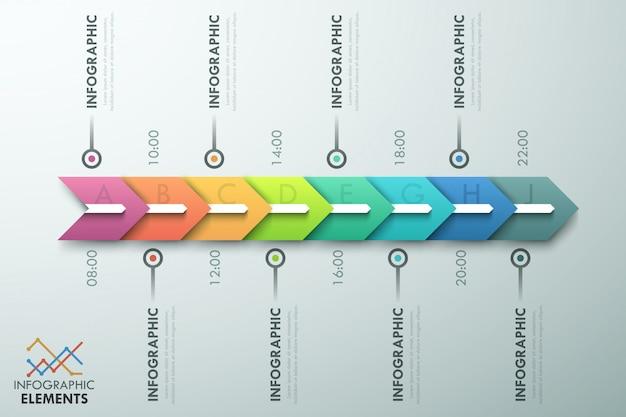 Modèle de processus infographie minime avec des flèches