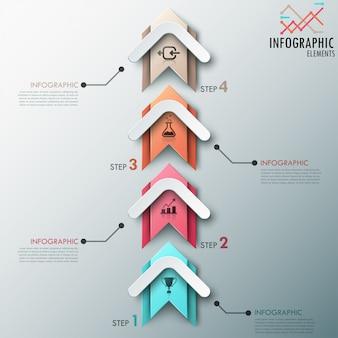 Modèle de processus d'infographie moderne avec des flèches