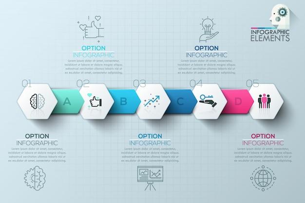 Modèle de processus d'infographie moderne avec des polygones en papier pour 5 étapes
