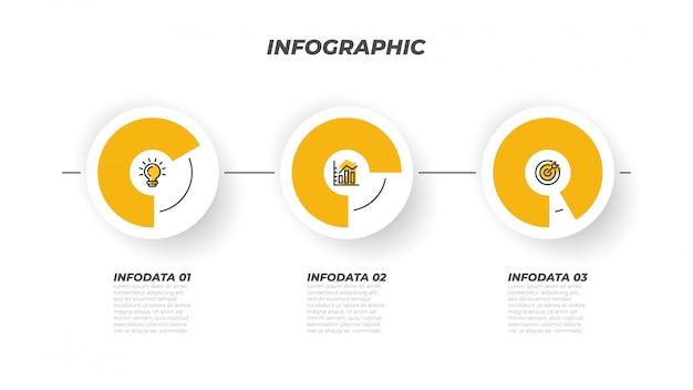 Modèle de processus infographique de présentations et 3 options, étapes, cercle. éléments de design créatif de vecteur. peut être utilisé pour la mise en page de flux de travail, la carte d'informations, la conception web.