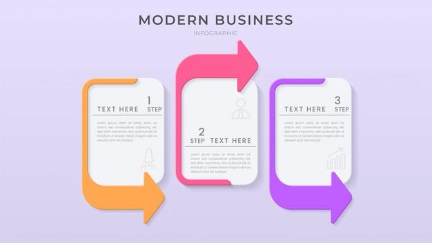 Modèle de processus d'organigramme de conception d'élément d'infographie 3d avec texte modifiable et style papercut.