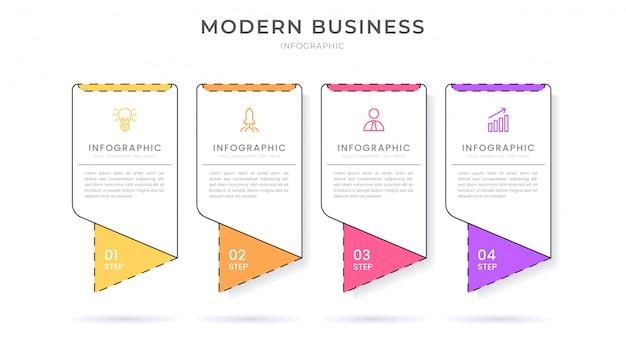 Modèle de processus d'organigramme de conception infographique style plat