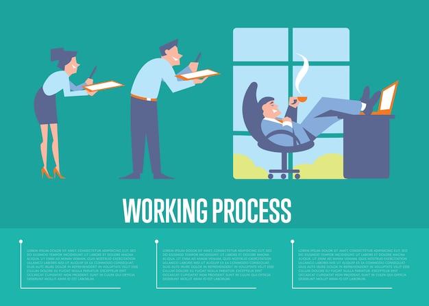 Modèle de processus de travail avec des gens d'affaires