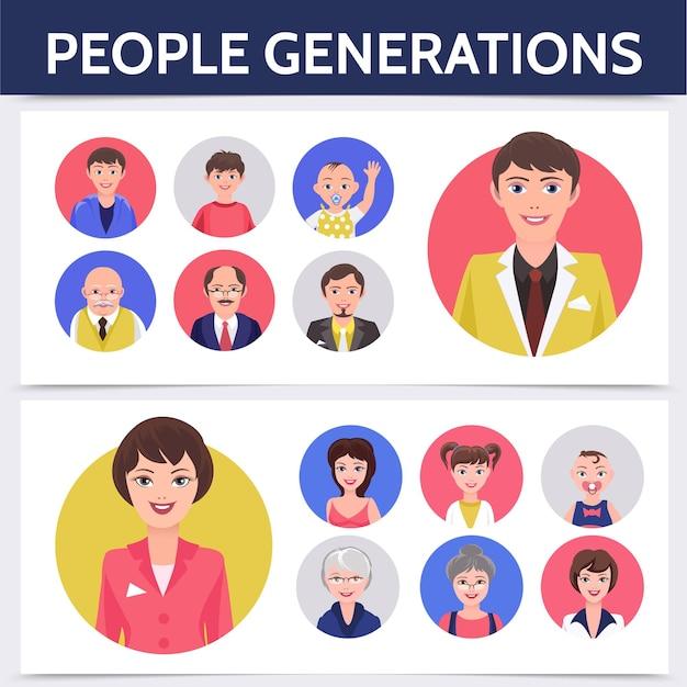 Modèle de processus de vieillissement de personnes plates avec différentes générations d'homme et de femme pour l'illustration d'avatars