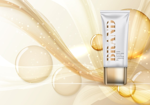 Modèle de produit design cosmetics pour fond d'annonces. illustration vectorielle réaliste 3d