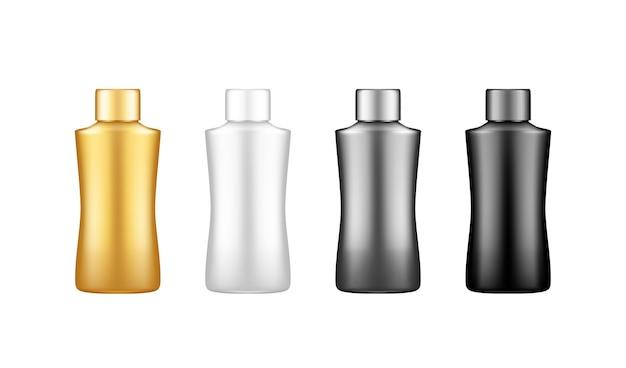 Modèle de produit de soins d'hygiène, médical, corporel et facial vierge en plastique blanc, argent, or, noir