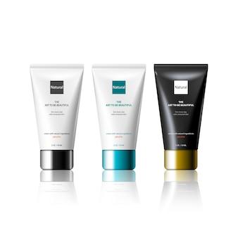 Modèle de produit de tube de cosmétiques de conception 3d pour la publicité. kit d'emballage cosmétique