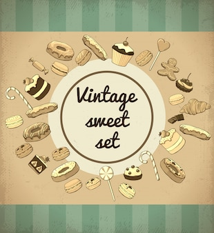 Modèle de produits sucrés et desserts vintage