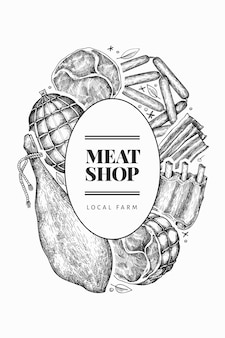 Modèle de produits de viande vintage. jambon, saucisses, jambon, épices et herbes dessinés à la main. illustration rétro. peut être utilisé pour le menu du restaurant.