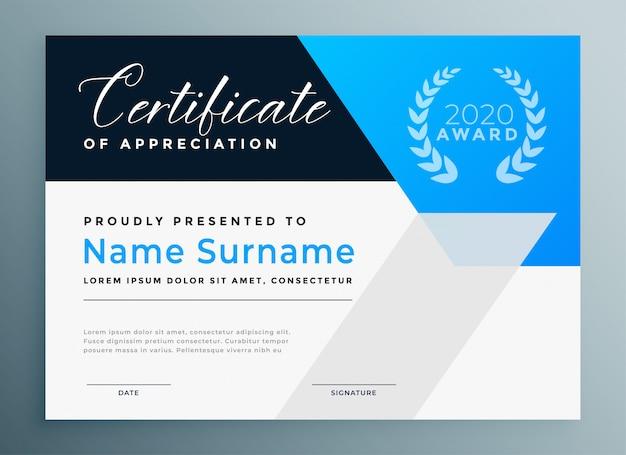 Modèle professionnel de certificat d'appréciation bleu