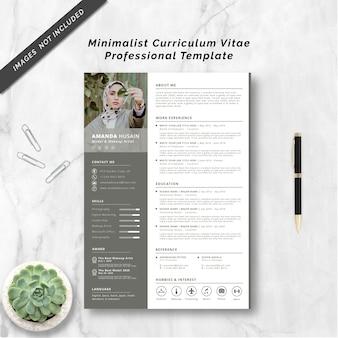 Modèle professionnel de curriculum vitae minimaliste