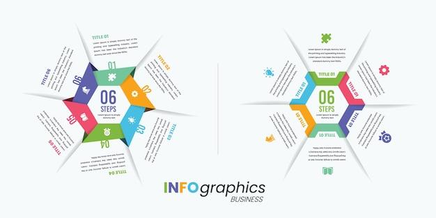 Modèle professionnel d'infographie colorée hexagonale