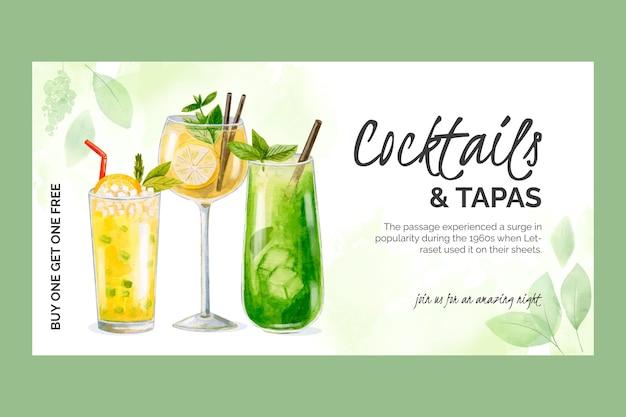 Modèle de promo sur les réseaux sociaux de cocktails à l'aquarelle