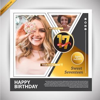 Modèle de promotion de bannière joyeux anniversaire