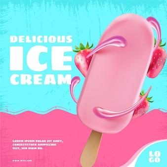 Modèle de promotion de crème glacée réaliste