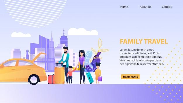 Modèle de promotion avec famille chargeant des bagages dans une malle de taxi ouverte