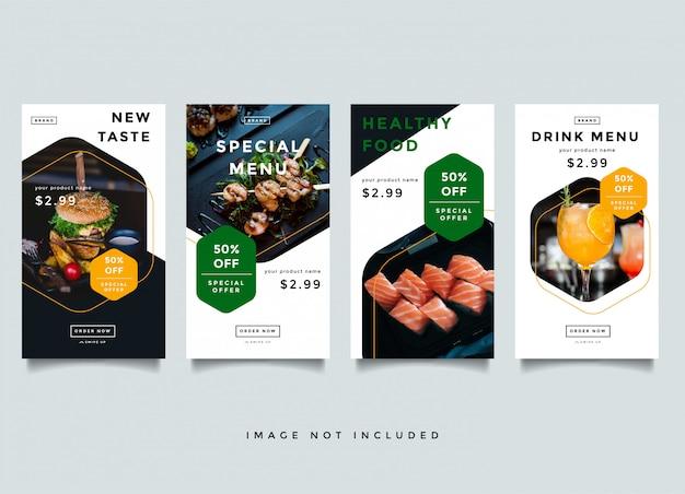 Modèle de promotion d'histoires instagram alimentaires et culinaires
