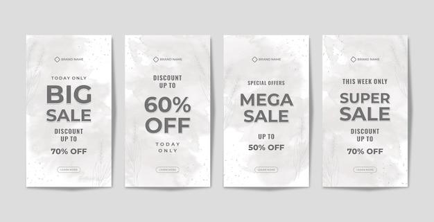 Modèle de promotion d'histoires instagram avec aquarelle grise
