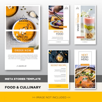 Modèle de promotion histoires instagram culinaires et culinaires avec image placeholder. conception élégante de bannière pour la promotion des médias sociaux.