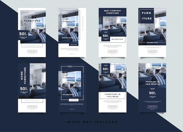 Modèle de promotion d'histoires instagram intérieures pour la maison