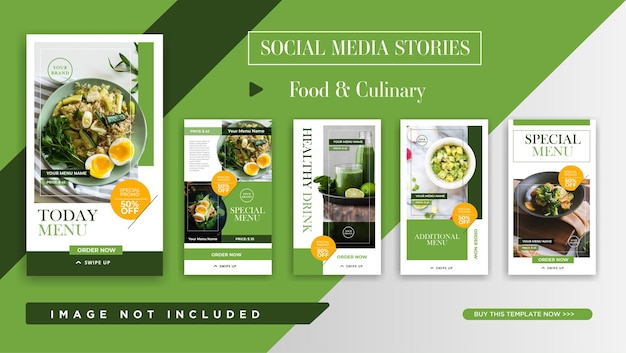 Modèle de promotion des histoires instagram pour l'alimentation et la cuisine