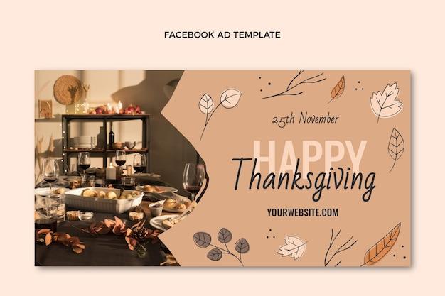 Modèle de promotion de médias sociaux de thanksgiving plat dessiné à la main
