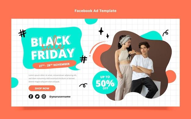 Modèle de promotion de médias sociaux vendredi plat noir dessiné à la main